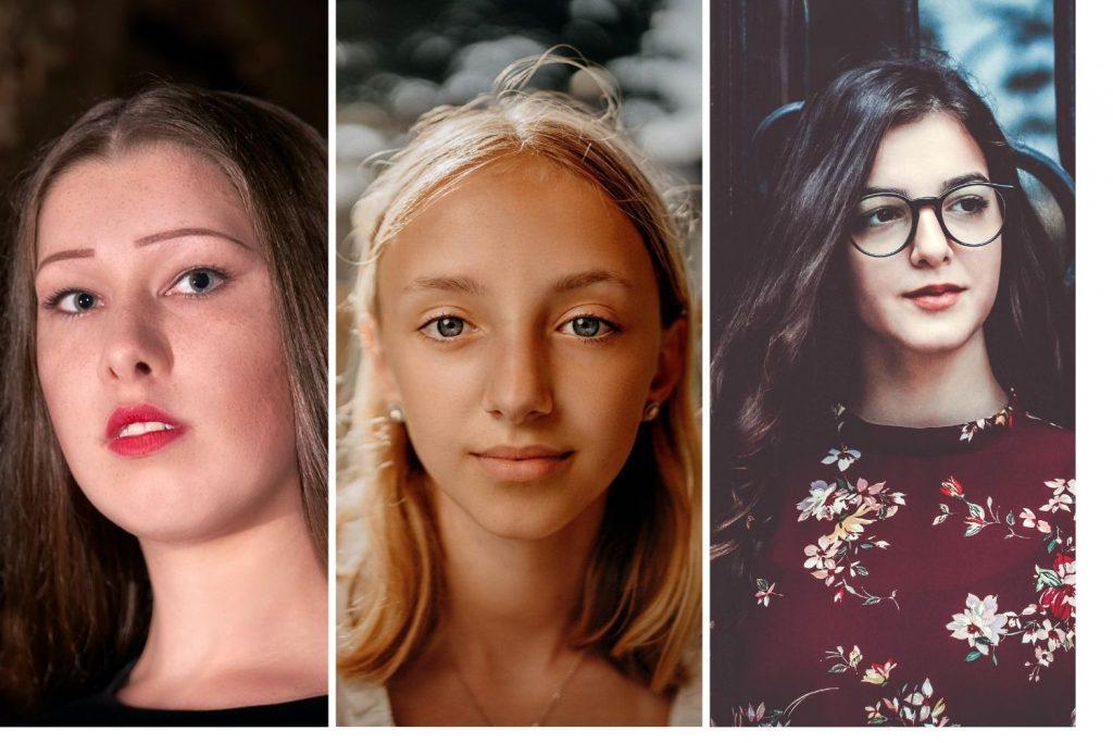 Drei Gesichter mit unterschiedlich viel Gesichtsfläche